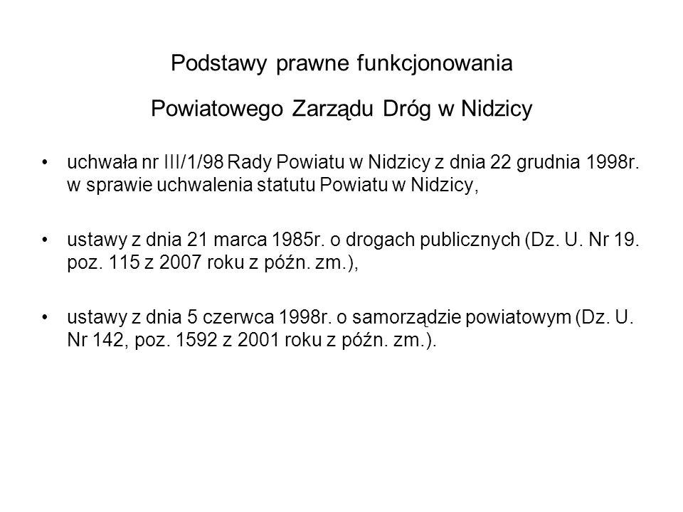 ULICE POWIATOWE – stan na 31.12.2013 W zarządzaniu Powiatowego Zarządu Dróg w Nidzicy znajduje się : 1.