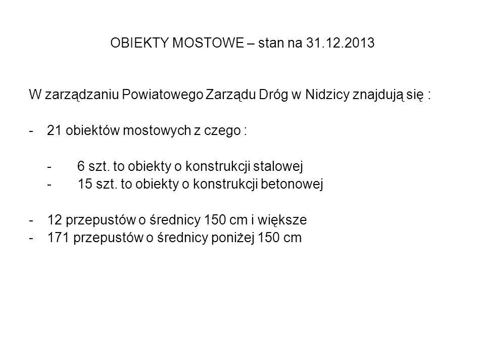 OBIEKTY MOSTOWE – stan na 31.12.2013 W zarządzaniu Powiatowego Zarządu Dróg w Nidzicy znajdują się : -21 obiektów mostowych z czego : -6 szt.