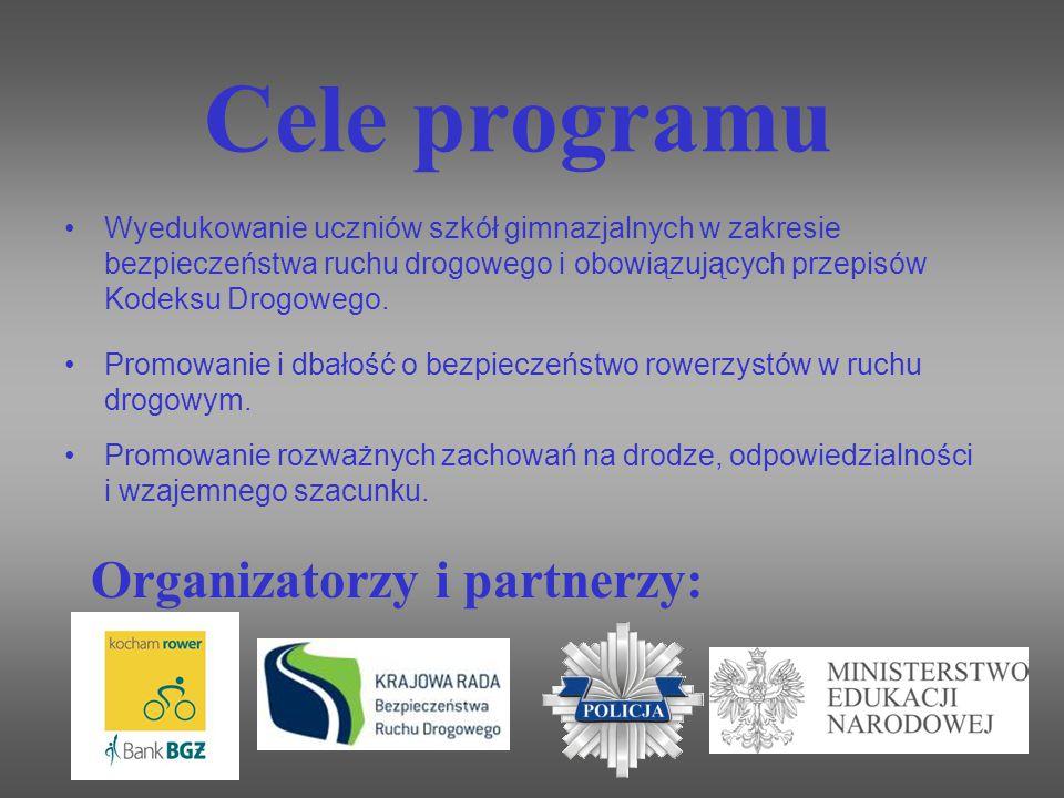 Cele programu Wyedukowanie uczniów szkół gimnazjalnych w zakresie bezpieczeństwa ruchu drogowego i obowiązujących przepisów Kodeksu Drogowego. Promowa