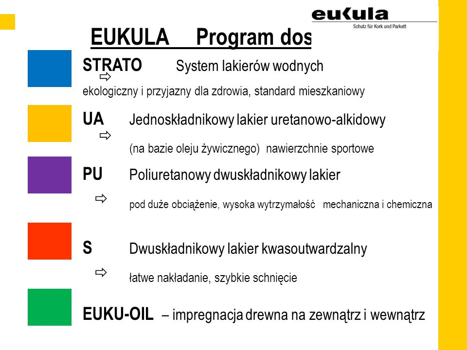 EUKULA Program dostaw STRATO System lakierów wodnych ekologiczny i przyjazny dla zdrowia, standard mieszkaniowy UA Jednoskładnikowy lakier uretanowo-alkidowy (na bazie oleju żywicznego) nawierzchnie sportowe PU Poliuretanowy dwuskładnikowy lakier pod duże obciążenie, wysoka wytrzymałość mechaniczna i chemiczna S Dwuskładnikowy lakier kwasoutwardzalny łatwe nakładanie, szybkie schnięcie EUKU-OIL – impregnacja drewna na zewnątrz i wewnątrz    