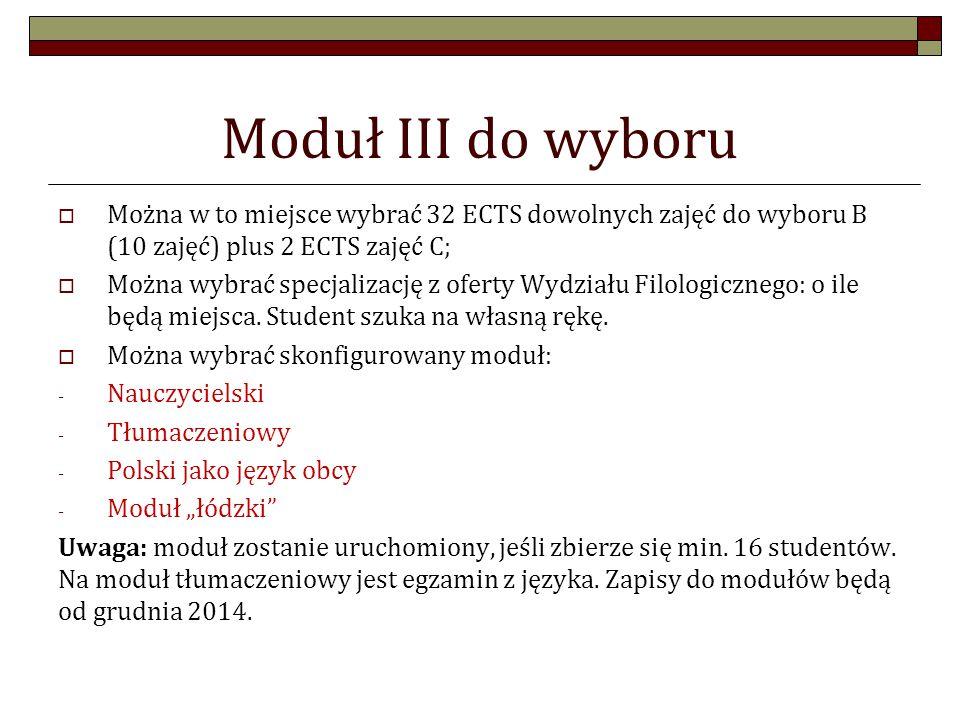 Moduł III do wyboru  Można w to miejsce wybrać 32 ECTS dowolnych zajęć do wyboru B (10 zajęć) plus 2 ECTS zajęć C;  Można wybrać specjalizację z oferty Wydziału Filologicznego: o ile będą miejsca.
