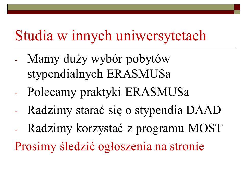 Studia w innych uniwersytetach - Mamy duży wybór pobytów stypendialnych ERASMUSa - Polecamy praktyki ERASMUSa - Radzimy starać się o stypendia DAAD - Radzimy korzystać z programu MOST Prosimy śledzić ogłoszenia na stronie