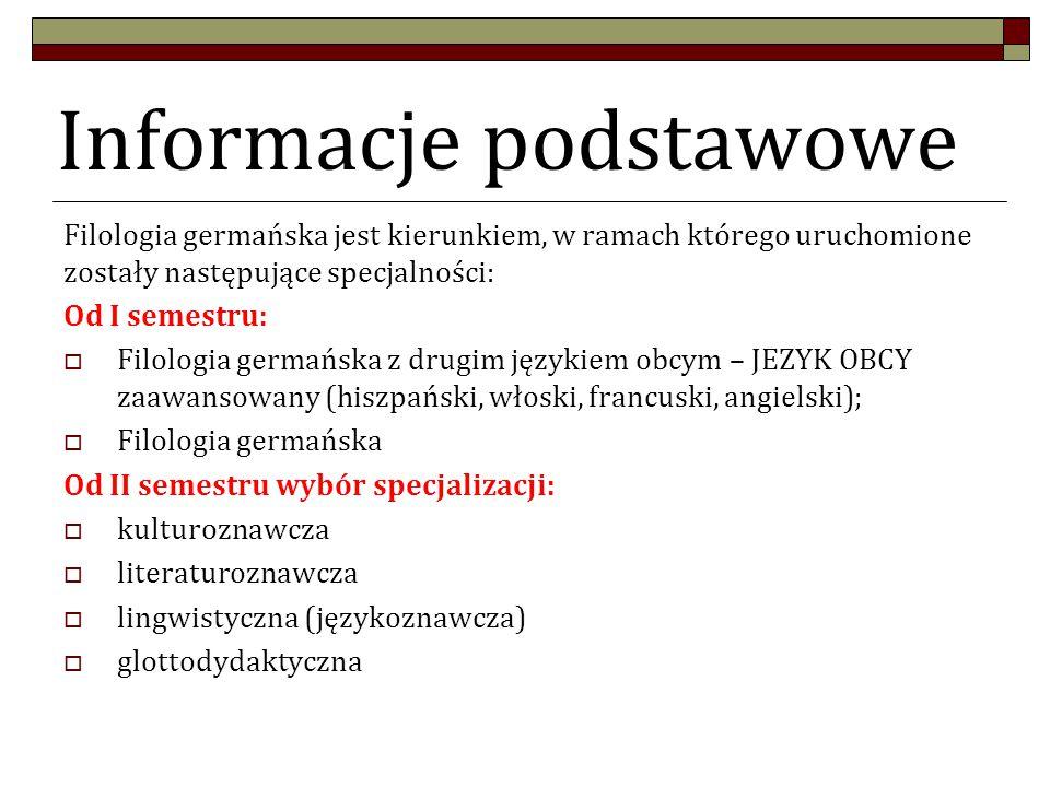 Informacje podstawowe Filologia germańska jest kierunkiem, w ramach którego uruchomione zostały następujące specjalności: Od I semestru:  Filologia germańska z drugim językiem obcym – JEZYK OBCY zaawansowany (hiszpański, włoski, francuski, angielski);  Filologia germańska Od II semestru wybór specjalizacji:  kulturoznawcza  literaturoznawcza  lingwistyczna (językoznawcza)  glottodydaktyczna