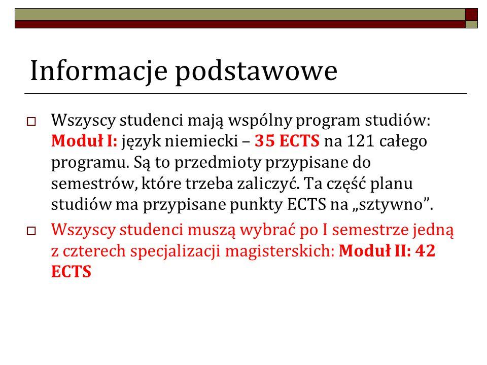 Informacje podstawowe  Wszyscy studenci mają wspólny program studiów: Moduł I: język niemiecki – 35 ECTS na 121 całego programu.