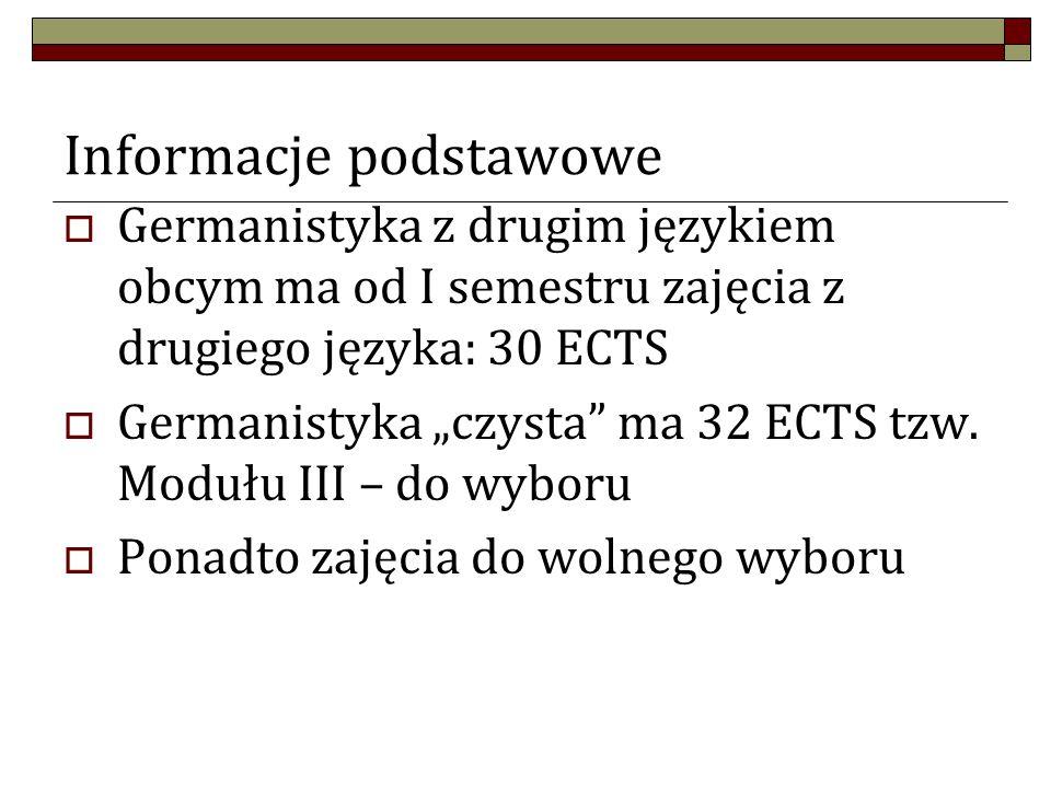 """Informacje podstawowe  Germanistyka z drugim językiem obcym ma od I semestru zajęcia z drugiego języka: 30 ECTS  Germanistyka """"czysta ma 32 ECTS tzw."""