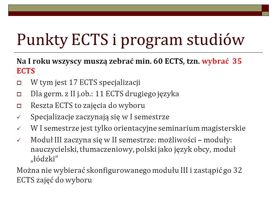 Punkty ECTS i program studiów Na I roku wszyscy muszą zebrać min.