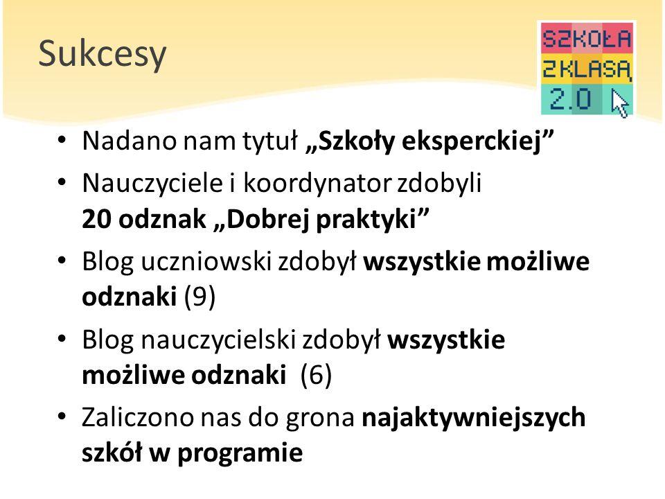 """Sukcesy Nadano nam tytuł """"Szkoły eksperckiej"""" Nauczyciele i koordynator zdobyli 20 odznak """"Dobrej praktyki"""" Blog uczniowski zdobył wszystkie możliwe o"""