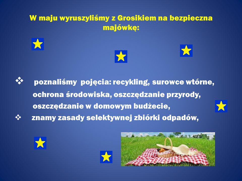 W maju wyruszyliśmy z Grosikiem na bezpieczna majówkę:  poznaliśmy pojęcia: recykling, surowce wtórne, ochrona środowiska, oszczędzanie przyrody, osz