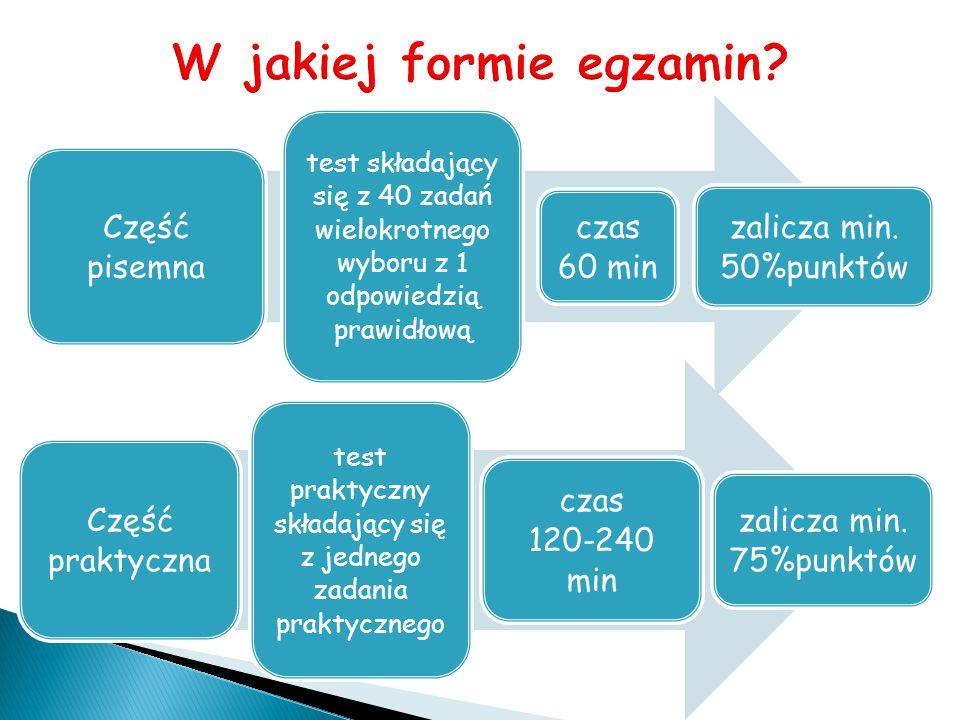Część pisemna test składający się z 40 zadań wielokrotnego wyboru z 1 odpowiedzią prawidłową czas 60 min zalicza min. 50%punktów Część praktyczna test