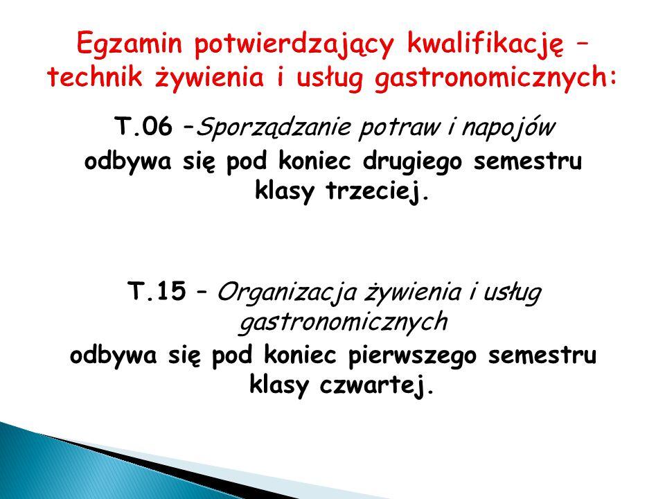 T.06 –Sporządzanie potraw i napojów odbywa się pod koniec drugiego semestru klasy trzeciej. T.15 – Organizacja żywienia i usług gastronomicznych odbyw