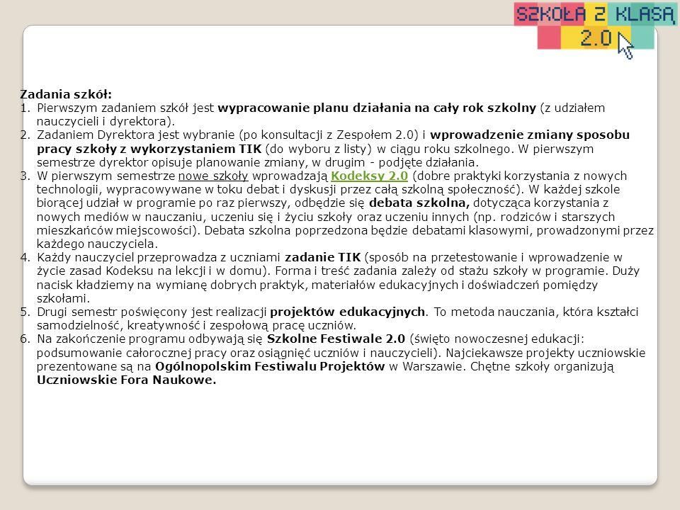 Termin zamieszczenia opisu na platformie (zada nie może być wykonane wcześniej) Zadanie 20.12.2013 Zadanie dyrektora - planowanie 20.05.2014 Zadanie dyrektora - realizacja HARMONOGRAM DYREKTORA