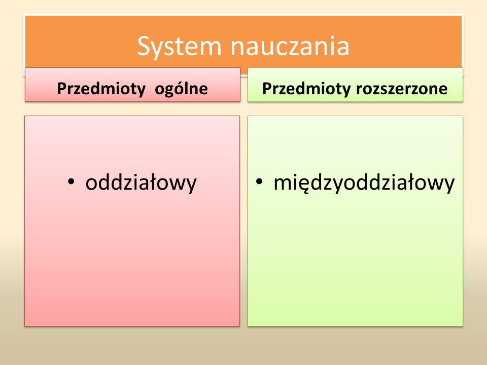 System nauczania Przedmioty ogólne oddziałowy Przedmioty rozszerzone międzyoddziałowy
