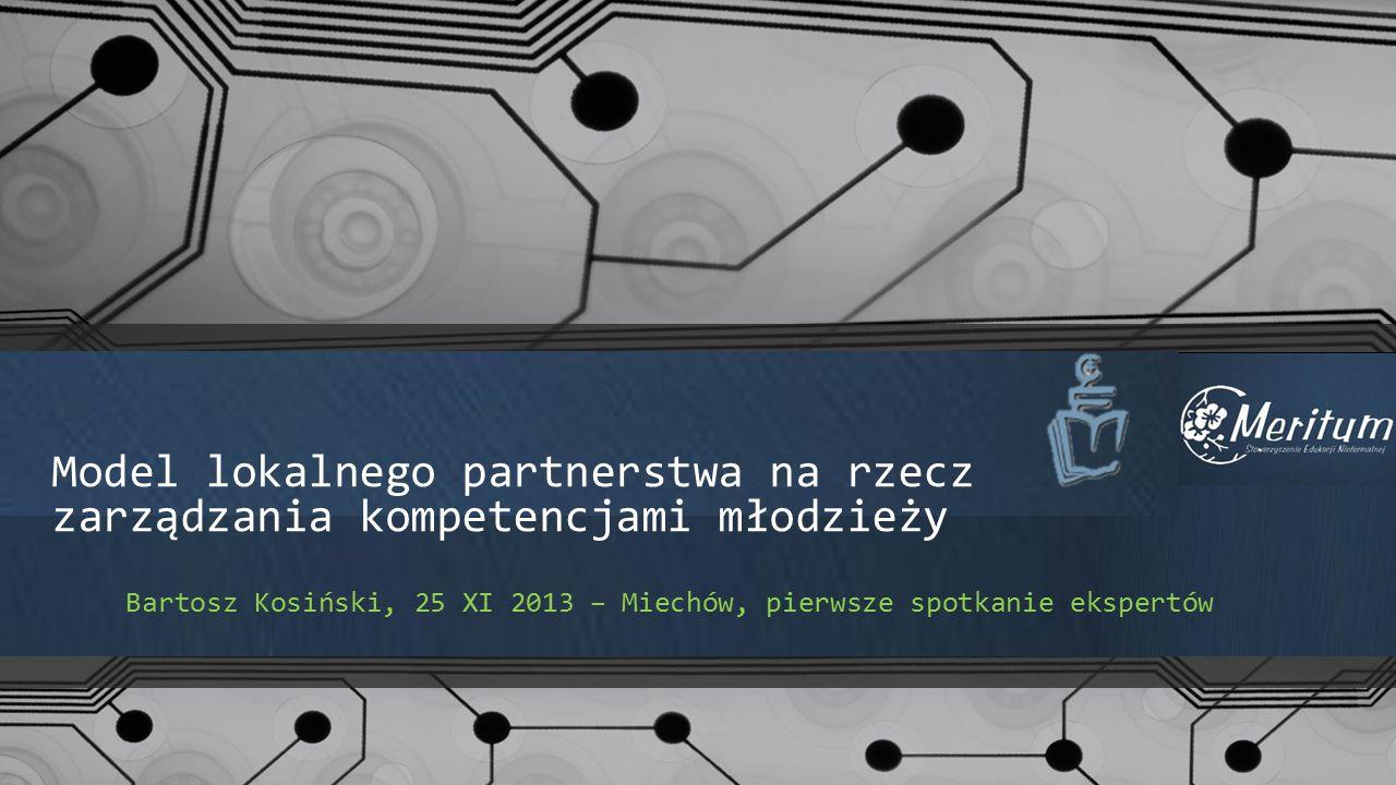Model lokalnego partnerstwa na rzecz zarządzania kompetencjami młodzieży Bartosz Kosiński, 25 XI 2013 – Miechów, pierwsze spotkanie ekspertów