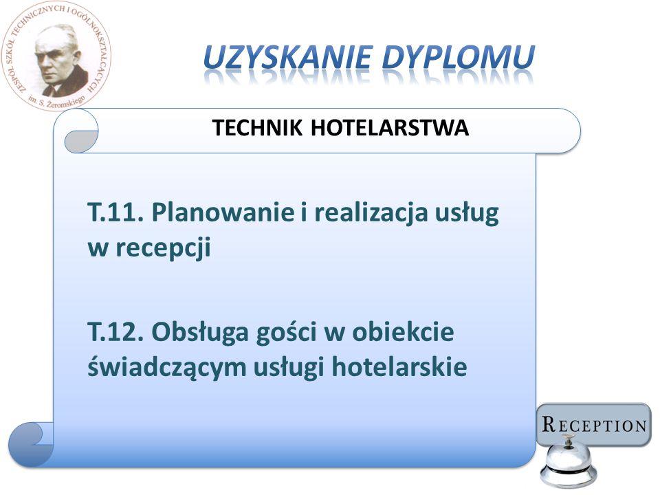 T.11. Planowanie i realizacja usług w recepcji T.12. Obsługa gości w obiekcie świadczącym usługi hotelarskie TECHNIK HOTELARSTWA