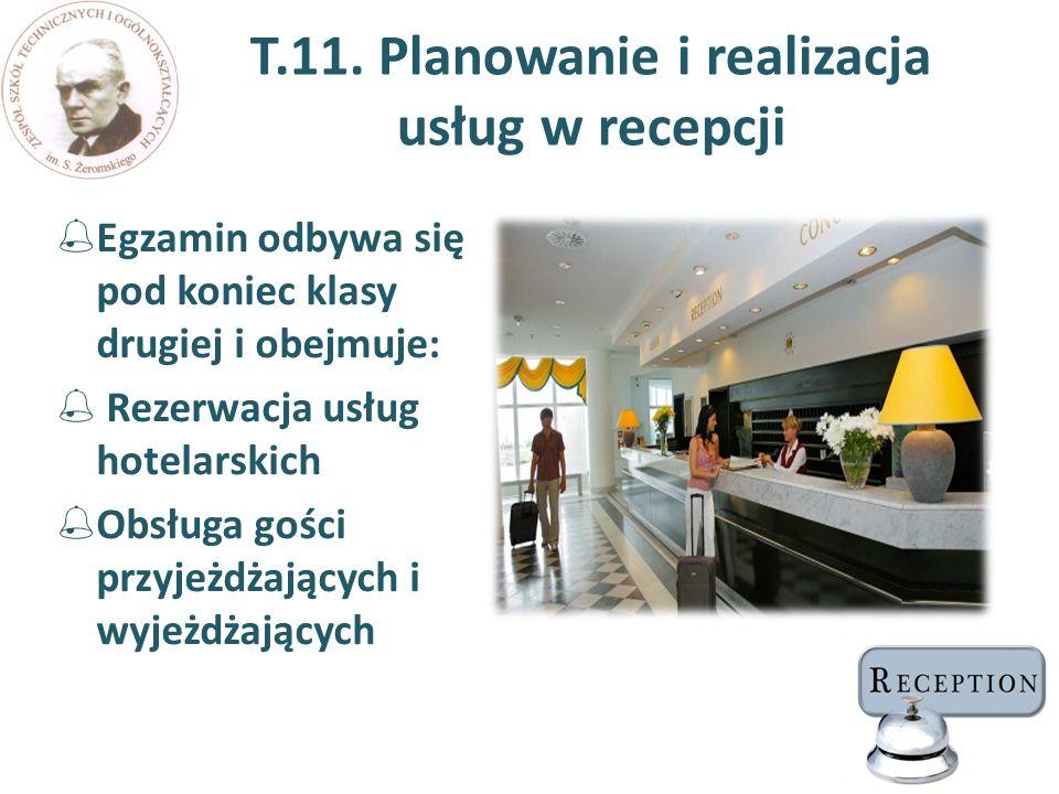 T.11. Planowanie i realizacja usług w recepcji  Egzamin odbywa się pod koniec klasy drugiej i obejmuje:  Rezerwacja usług hotelarskich  Obsługa goś