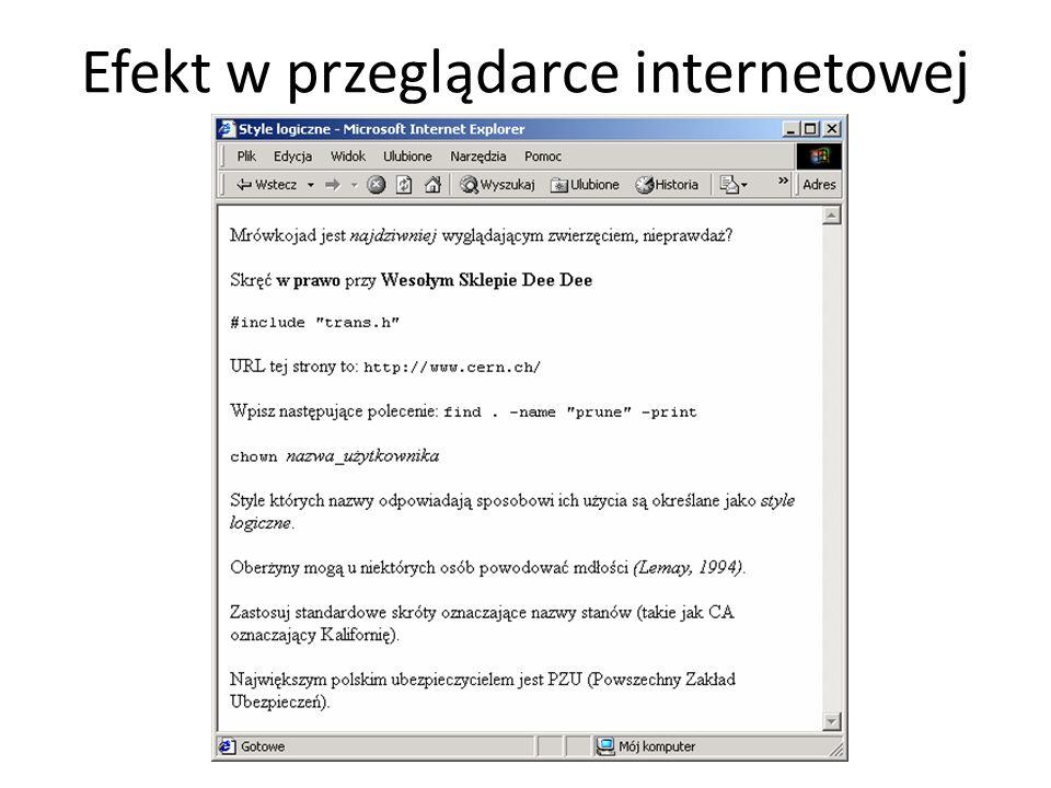Efekt w przeglądarce internetowej