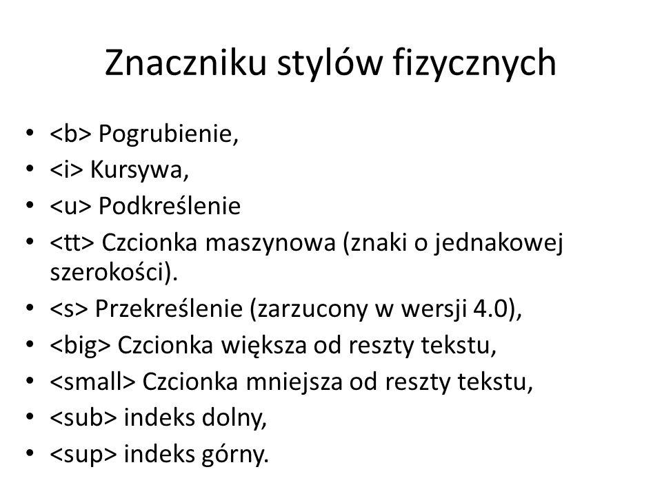 Znaczniku stylów fizycznych Pogrubienie, Kursywa, Podkreślenie Czcionka maszynowa (znaki o jednakowej szerokości).
