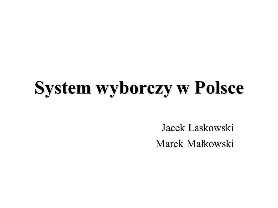 System wyborczy w Polsce Jacek Laskowski Marek Małkowski
