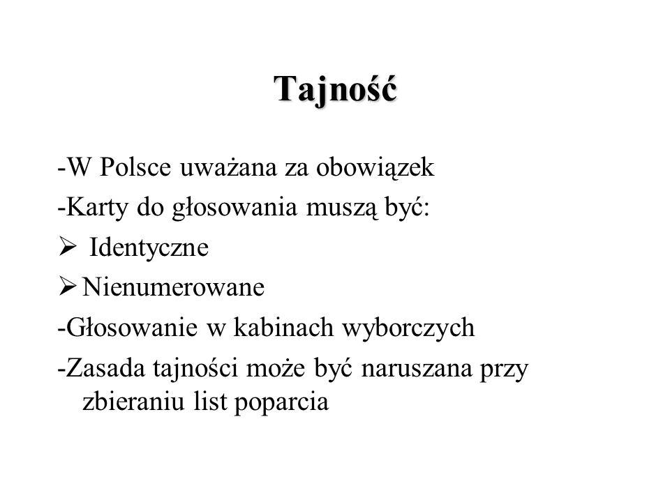Tajność -W Polsce uważana za obowiązek -Karty do głosowania muszą być:  Identyczne  Nienumerowane -Głosowanie w kabinach wyborczych -Zasada tajności może być naruszana przy zbieraniu list poparcia