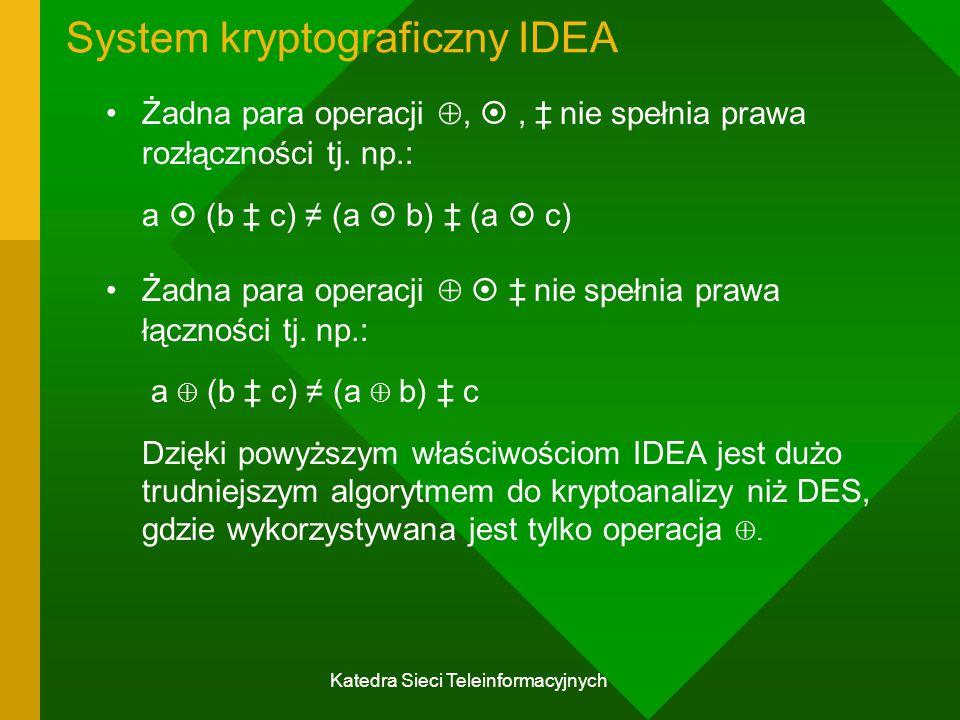 Katedra Sieci Teleinformacyjnych System kryptograficzny IDEA Żadna para operacji , , ‡ nie spełnia prawa rozłączności tj.