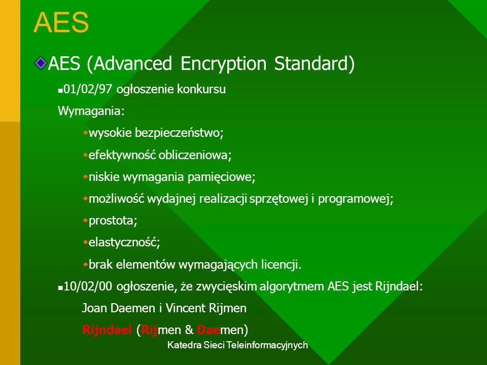 Katedra Sieci Teleinformacyjnych AES AES (Advanced Encryption Standard) 01/02/97 ogłoszenie konkursu Wymagania:  wysokie bezpieczeństwo;  efektywność obliczeniowa;  niskie wymagania pamięciowe;  możliwość wydajnej realizacji sprzętowej i programowej;  prostota;  elastyczność;  brak elementów wymagających licencji.