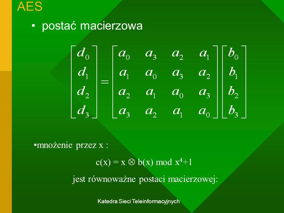 Katedra Sieci Teleinformacyjnych AES postać macierzowa mnożenie przez x : c(x) = x  b(x) mod x 4 +1 jest równoważne postaci macierzowej: