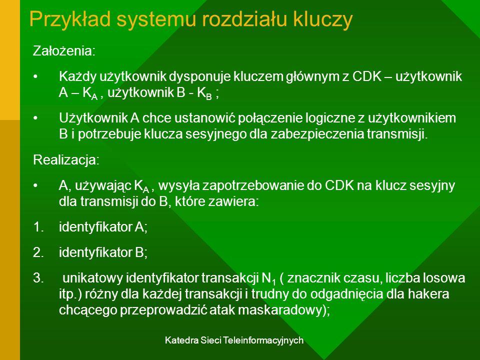 Katedra Sieci Teleinformacyjnych Przykład systemu rozdziału kluczy Założenia: Każdy użytkownik dysponuje kluczem głównym z CDK – użytkownik A – K A, użytkownik B - K B ; Użytkownik A chce ustanowić połączenie logiczne z użytkownikiem B i potrzebuje klucza sesyjnego dla zabezpieczenia transmisji.