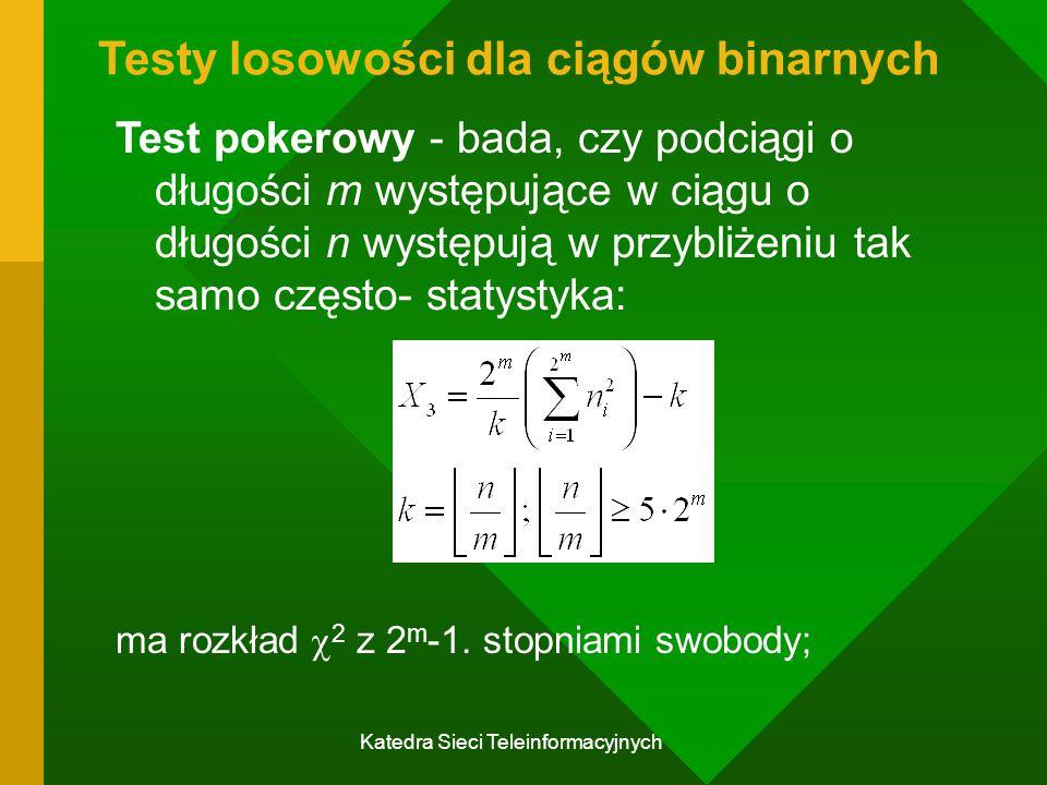 Katedra Sieci Teleinformacyjnych Testy losowości dla ciągów binarnych Test pokerowy - bada, czy podciągi o długości m występujące w ciągu o długości n występują w przybliżeniu tak samo często- statystyka: ma rozkład  2 z 2 m -1.