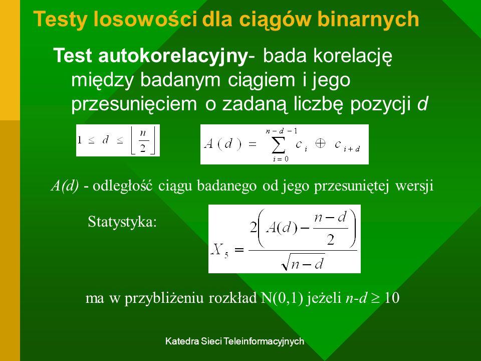 Katedra Sieci Teleinformacyjnych Testy losowości dla ciągów binarnych Test autokorelacyjny- bada korelację między badanym ciągiem i jego przesunięciem o zadaną liczbę pozycji d A(d) - odległość ciągu badanego od jego przesuniętej wersji Statystyka: ma w przybliżeniu rozkład N(0,1) jeżeli n-d  10