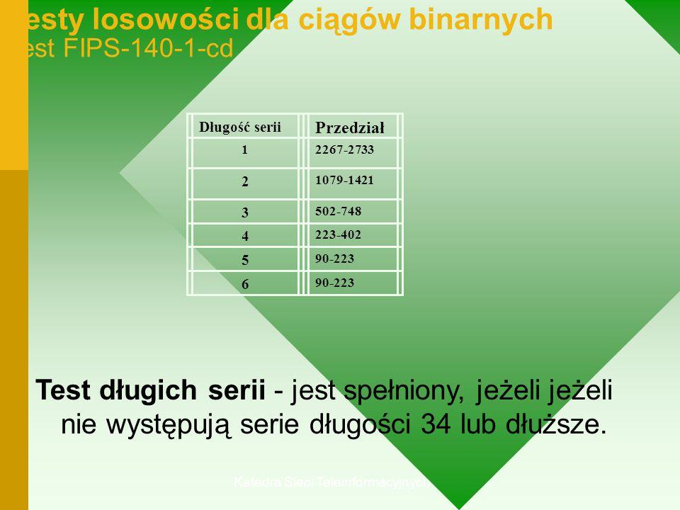 Katedra Sieci Teleinformacyjnych Testy losowości dla ciągów binarnych Test FIPS-140-1-cd Test długich serii - jest spełniony, jeżeli jeżeli nie występują serie długości 34 lub dłuższe.