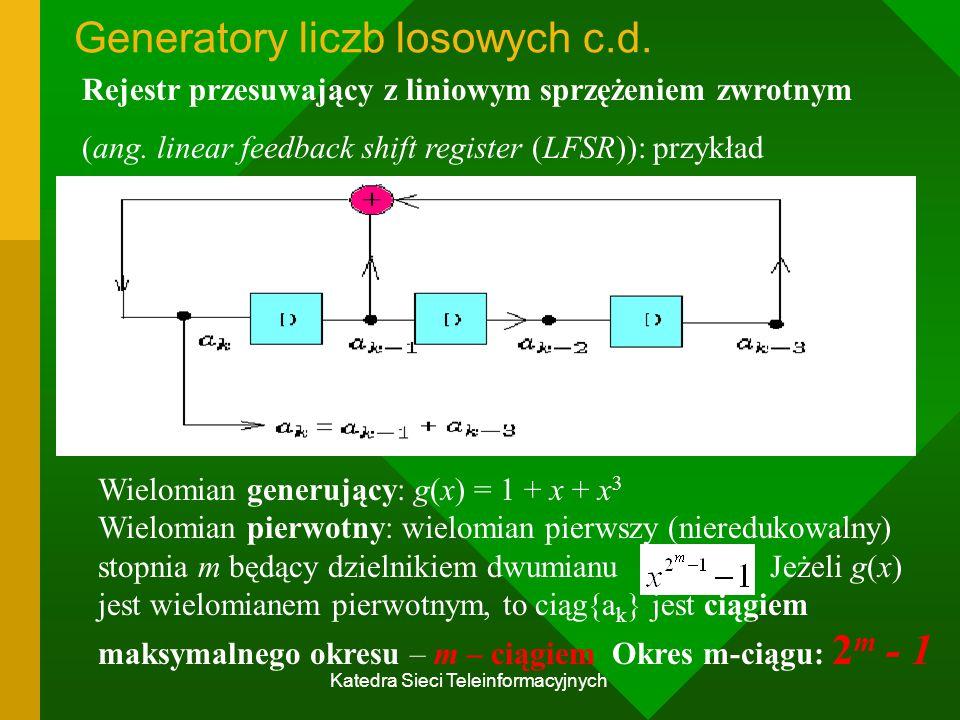 Katedra Sieci Teleinformacyjnych Generatory liczb losowych c.d.
