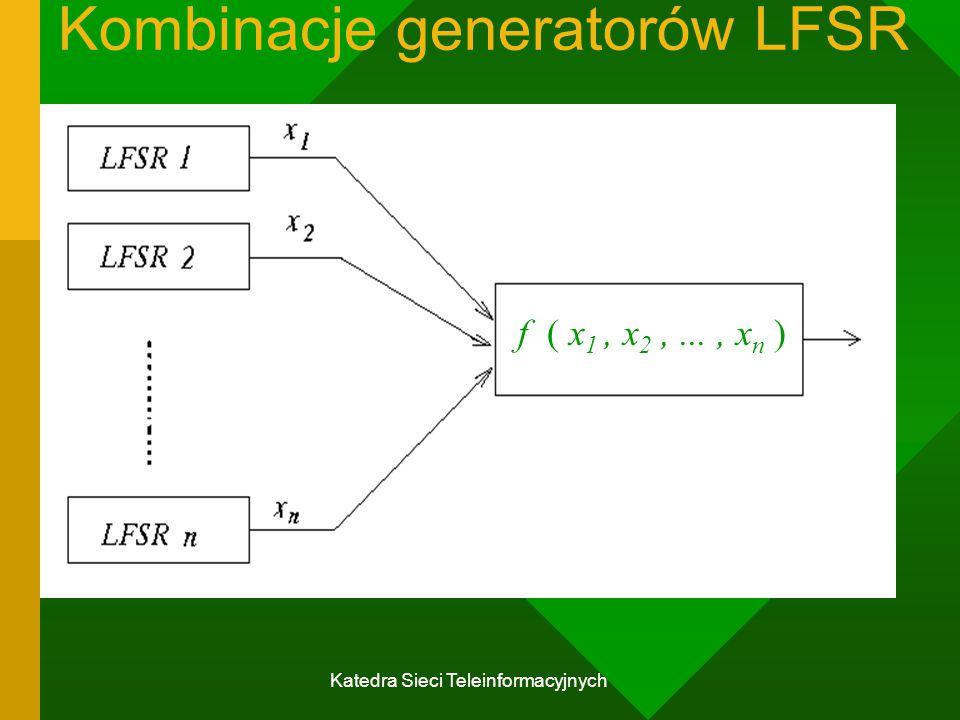 Katedra Sieci Teleinformacyjnych Kombinacje generatorów LFSR f ( x 1, x 2,..., x n )