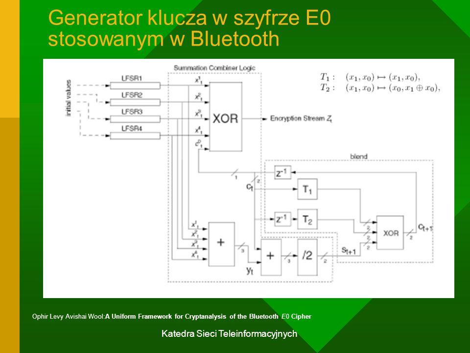 Katedra Sieci Teleinformacyjnych Generator klucza w szyfrze E0 stosowanym w Bluetooth Ophir Levy Avishai Wool:A Uniform Framework for Cryptanalysis of the Bluetooth E0 Cipher
