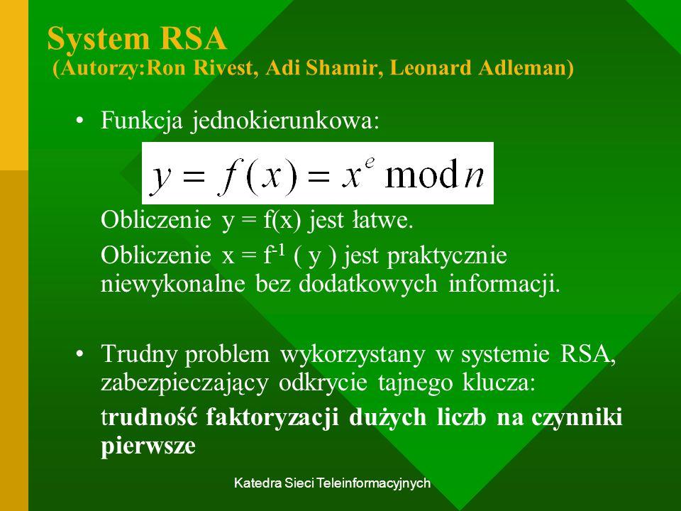 Katedra Sieci Teleinformacyjnych System RSA (Autorzy:Ron Rivest, Adi Shamir, Leonard Adleman) Funkcja jednokierunkowa: Obliczenie y = f(x) jest łatwe.
