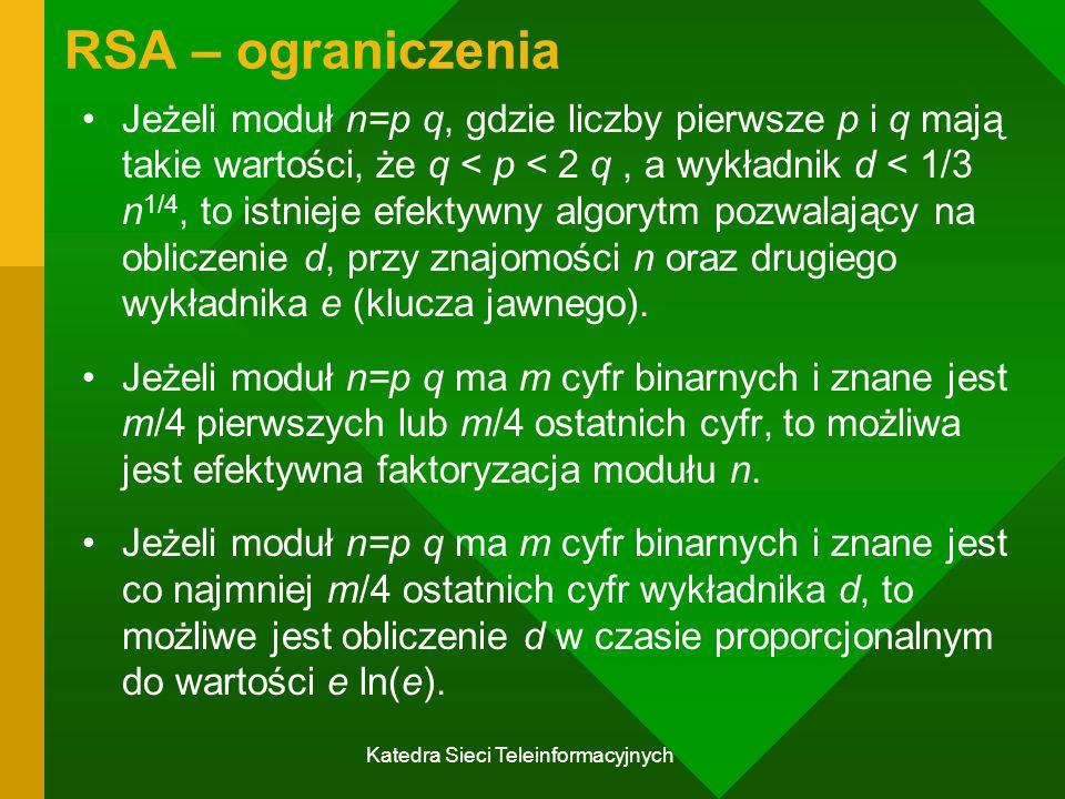 Katedra Sieci Teleinformacyjnych RSA – ograniczenia Jeżeli moduł n=p q, gdzie liczby pierwsze p i q mają takie wartości, że q < p < 2 q, a wykładnik d < 1/3 n 1/4, to istnieje efektywny algorytm pozwalający na obliczenie d, przy znajomości n oraz drugiego wykładnika e (klucza jawnego).