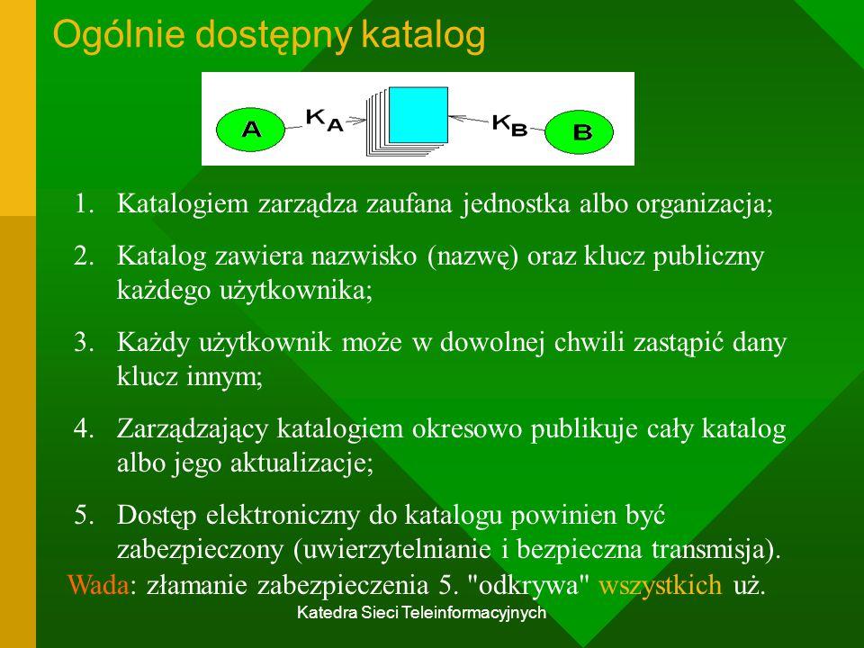 Katedra Sieci Teleinformacyjnych Ogólnie dostępny katalog 1.Katalogiem zarządza zaufana jednostka albo organizacja; 2.Katalog zawiera nazwisko (nazwę) oraz klucz publiczny każdego użytkownika; 3.Każdy użytkownik może w dowolnej chwili zastąpić dany klucz innym; 4.Zarządzający katalogiem okresowo publikuje cały katalog albo jego aktualizacje; 5.Dostęp elektroniczny do katalogu powinien być zabezpieczony (uwierzytelnianie i bezpieczna transmisja).