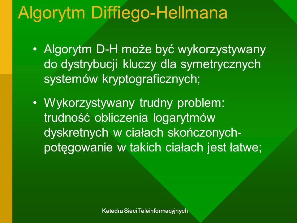 Katedra Sieci Teleinformacyjnych Algorytm Diffiego-Hellmana Algorytm D-H może być wykorzystywany do dystrybucji kluczy dla symetrycznych systemów kryptograficznych; Wykorzystywany trudny problem: trudność obliczenia logarytmów dyskretnych w ciałach skończonych- potęgowanie w takich ciałach jest łatwe;