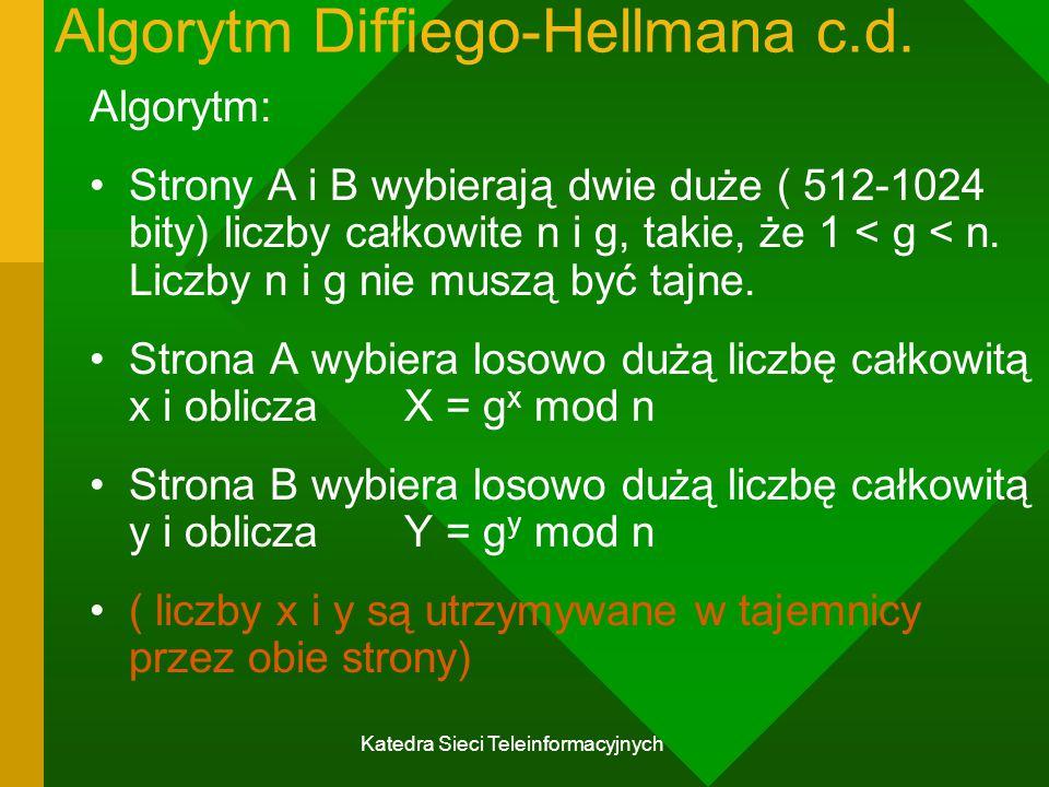 Katedra Sieci Teleinformacyjnych Algorytm Diffiego-Hellmana c.d.