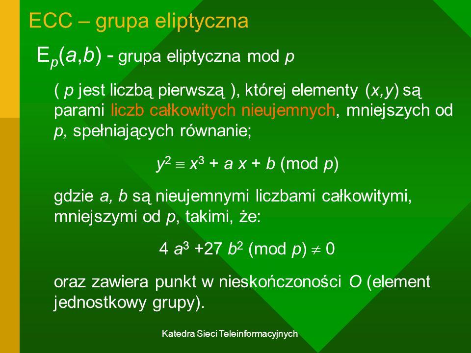 Katedra Sieci Teleinformacyjnych ECC – grupa eliptyczna E p (a,b) - grupa eliptyczna mod p ( p jest liczbą pierwszą ), której elementy (x,y) są parami liczb całkowitych nieujemnych, mniejszych od p, spełniających równanie; y 2  x 3 + a x + b (mod p) gdzie a, b są nieujemnymi liczbami całkowitymi, mniejszymi od p, takimi, że: 4 a 3 +27 b 2 (mod p)  0 oraz zawiera punkt w nieskończoności O (element jednostkowy grupy).