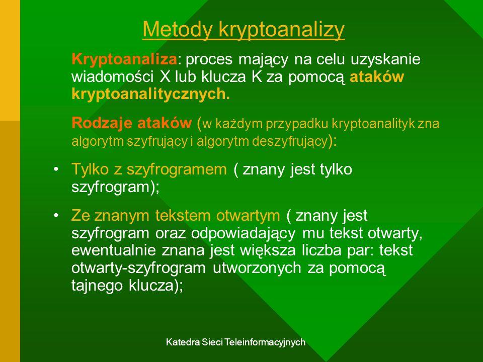 Katedra Sieci Teleinformacyjnych Metody kryptoanalizy Kryptoanaliza: proces mający na celu uzyskanie wiadomości X lub klucza K za pomocą ataków kryptoanalitycznych.