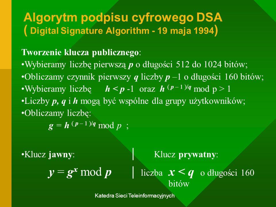 Katedra Sieci Teleinformacyjnych Algorytm podpisu cyfrowego DSA ( Digital Signature Algorithm - 19 maja 1994 ) Tworzenie klucza publicznego: Wybieramy liczbę pierwszą p o długości 512 do 1024 bitów; Obliczamy czynnik pierwszy q liczby p –1 o długości 160 bitów; Wybieramy liczbę h 1 Liczby p, q i h mogą być wspólne dla grupy użytkowników; Obliczamy liczbę: g = h ( p – 1 )/q mod p ; Klucz jawny: | Klucz prywatny: y = g x mod p | liczba x < q o długości 160 bitów