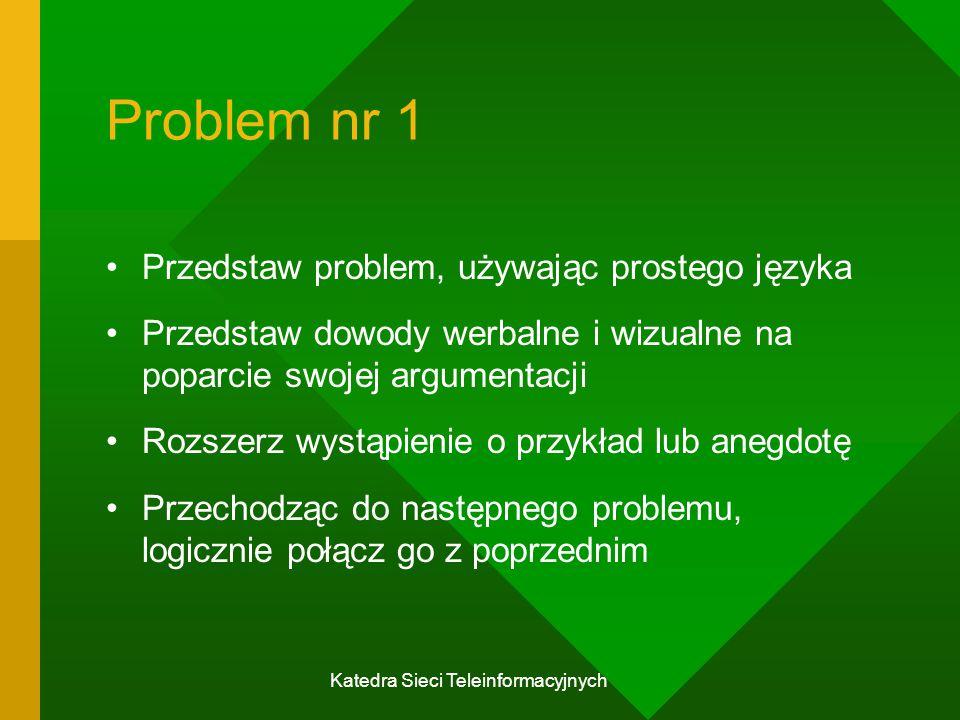 Katedra Sieci Teleinformacyjnych Problem nr 1 Przedstaw problem, używając prostego języka Przedstaw dowody werbalne i wizualne na poparcie swojej argumentacji Rozszerz wystąpienie o przykład lub anegdotę Przechodząc do następnego problemu, logicznie połącz go z poprzednim