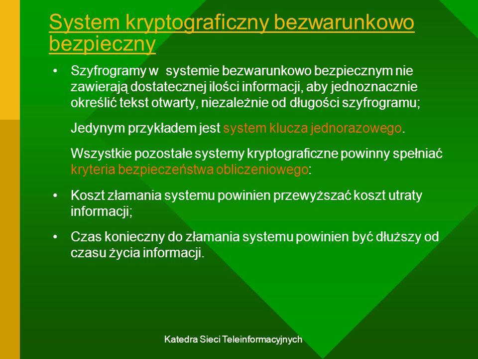 Katedra Sieci Teleinformacyjnych System kryptograficzny bezwarunkowo bezpieczny Szyfrogramy w systemie bezwarunkowo bezpiecznym nie zawierają dostatecznej ilości informacji, aby jednoznacznie określić tekst otwarty, niezależnie od długości szyfrogramu; Jedynym przykładem jest system klucza jednorazowego.