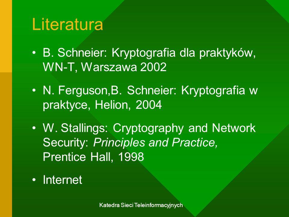 Katedra Sieci Teleinformacyjnych System asymetryczny K A, K B - klucze jawne;T A, T B – klucze tajne; y = f K (x) – funkcja jednokierunkowa ( ang.