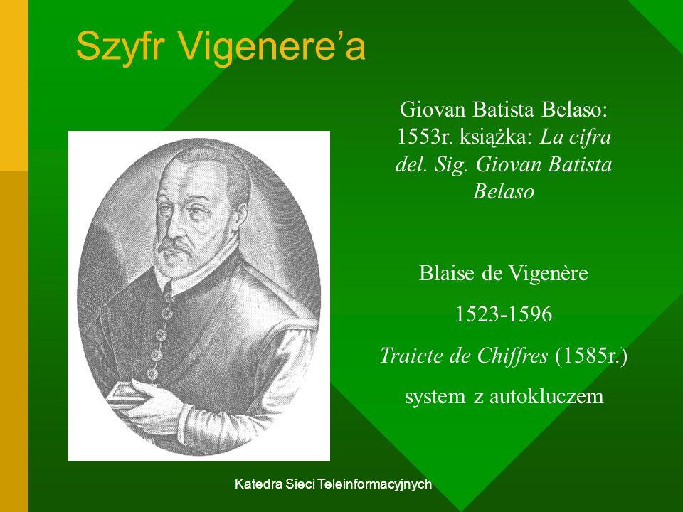Katedra Sieci Teleinformacyjnych Szyfr Vigenere'a Giovan Batista Belaso: 1553r.