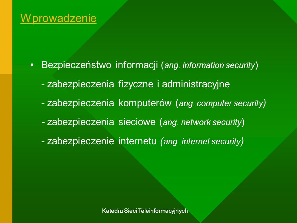 Katedra Sieci Teleinformacyjnych Porównanie systemów symetrycznych i asymetrycznych Klucze muszą być utajnione; dekryptaż szyfrogramu bez dodatkowych informacji powinien być co najmniej praktycznie niemożliwy; znajomość algorytmu i próbek szyfrogramów powinna być niewystarczająca do określenia klucza.
