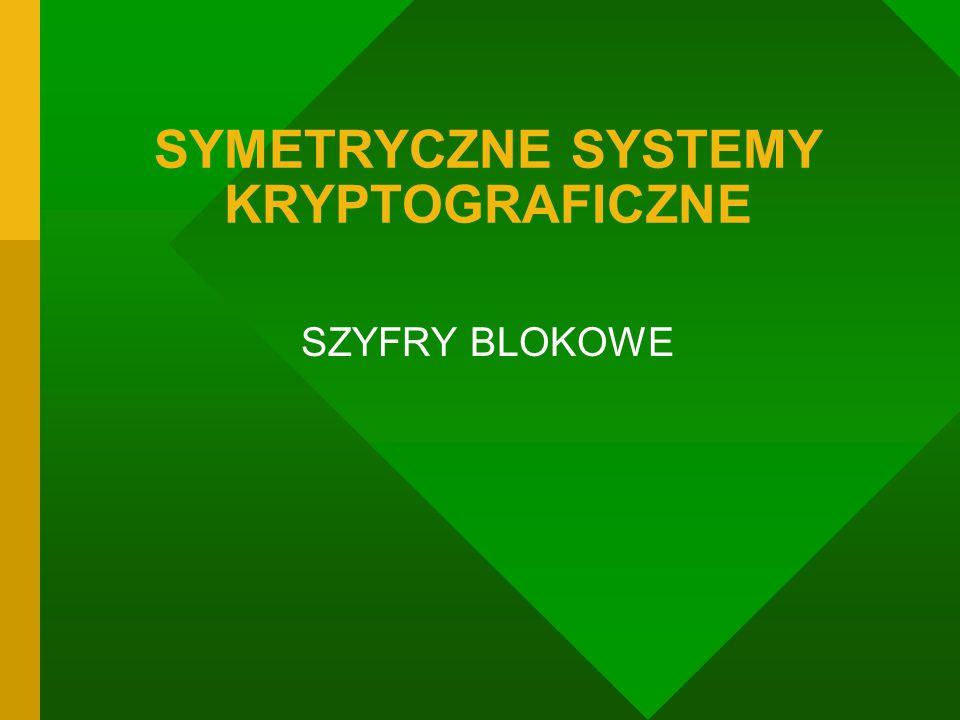 SYMETRYCZNE SYSTEMY KRYPTOGRAFICZNE SZYFRY BLOKOWE