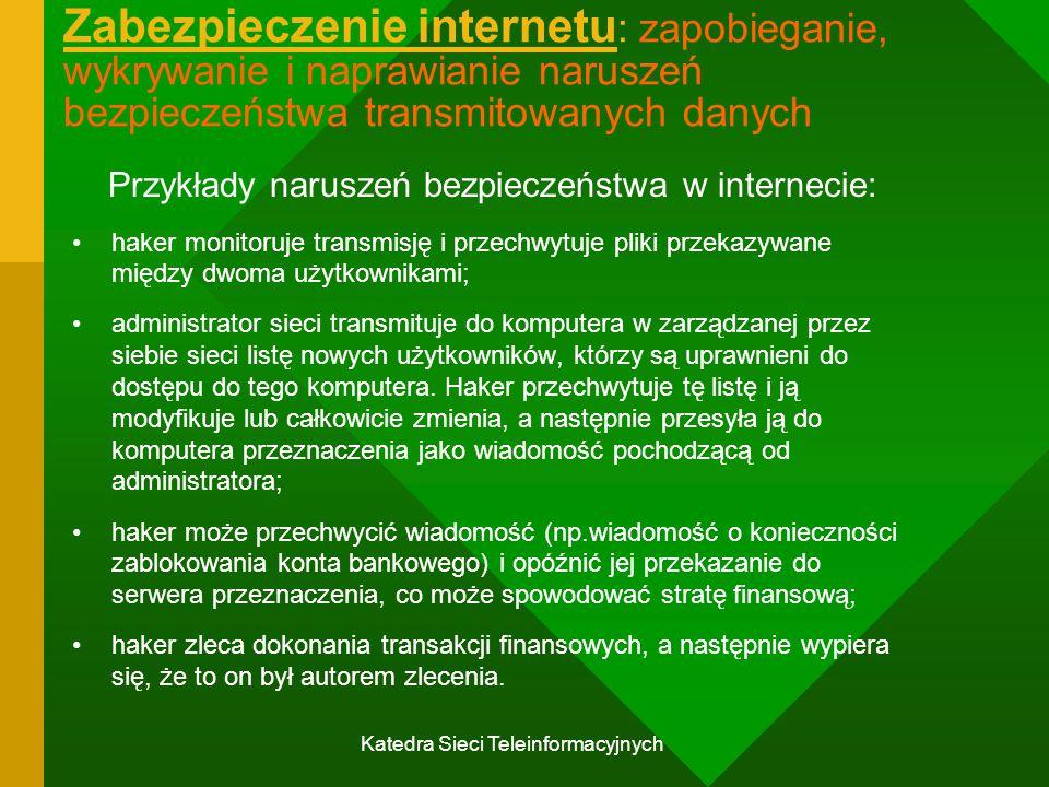 Katedra Sieci Teleinformacyjnych Zabezpieczenie internetu : zapobieganie, wykrywanie i naprawianie naruszeń bezpieczeństwa transmitowanych danych Przykłady naruszeń bezpieczeństwa w internecie: haker monitoruje transmisję i przechwytuje pliki przekazywane między dwoma użytkownikami; administrator sieci transmituje do komputera w zarządzanej przez siebie sieci listę nowych użytkowników, którzy są uprawnieni do dostępu do tego komputera.