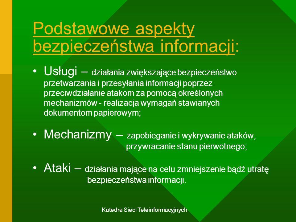 Katedra Sieci Teleinformacyjnych Szyfrowanie w łączu i end-to-end wiadomość widoczna w węźle nadawczym (host); wiadomość widoczna w węzłach pośrednich; przezroczyste dla użytkownika; węzeł zarządza szyfrowaniem; jedno urządzenie dla wszystkich użytkowników; realizacja sprzętowa; wszystkie wiadomości są szyfrowane; jeden klucz na każde łącze; zapewnia uwierzytelnienie węzła.