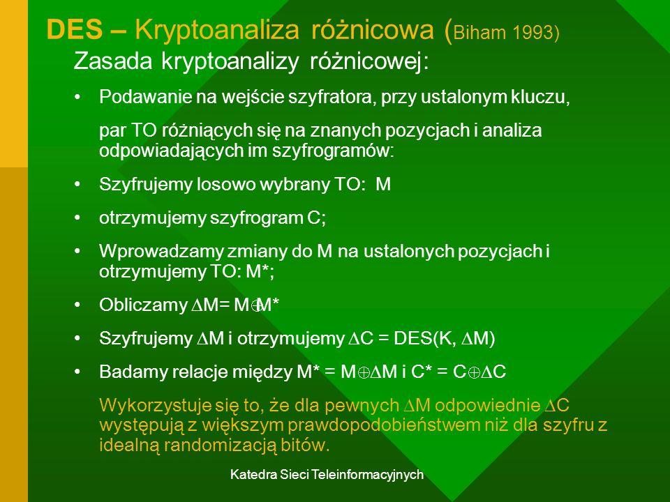 Katedra Sieci Teleinformacyjnych DES – Kryptoanaliza różnicowa ( Biham 1993) Zasada kryptoanalizy różnicowej: Podawanie na wejście szyfratora, przy ustalonym kluczu, par TO różniących się na znanych pozycjach i analiza odpowiadających im szyfrogramów: Szyfrujemy losowo wybrany TO: M otrzymujemy szyfrogram C; Wprowadzamy zmiany do M na ustalonych pozycjach i otrzymujemy TO: M*; Obliczamy  M= M  M* Szyfrujemy  M i otrzymujemy  C = DES(K,  M) Badamy relacje między M* = M   M i C* = C   C Wykorzystuje się to, że dla pewnych  M odpowiednie  C występują z większym prawdopodobieństwem niż dla szyfru z idealną randomizacją bitów.